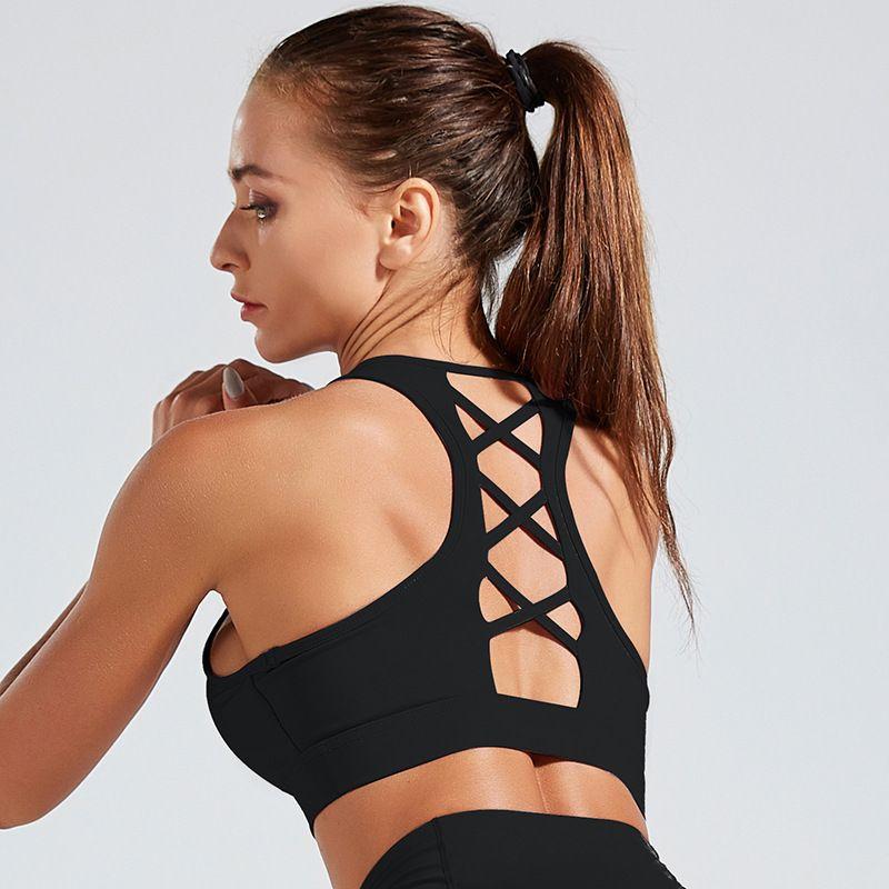 Backless Yoga Bra Stoß- Versammlung Sport-BH Fitness Weste beiläufige Unterwäsche Quick Dry Fest Push Up Workout Jogger Bras