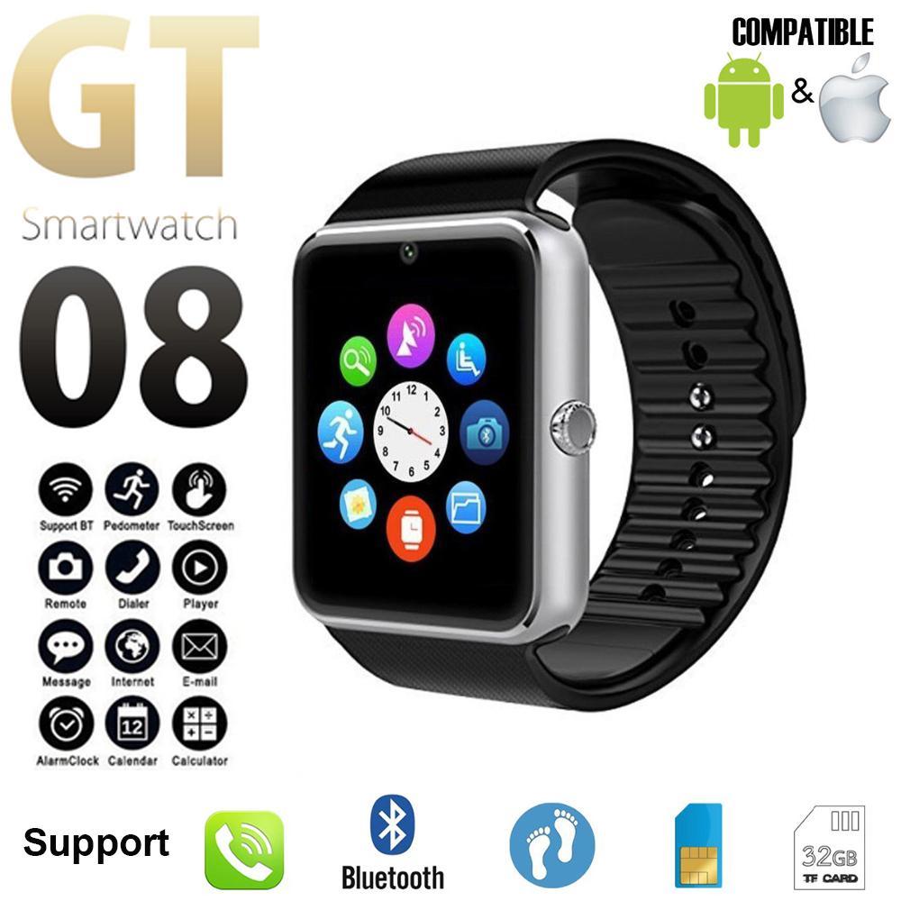 Strap intelligente Guarda GT08 Inoltre metallo Bluetooth polso Smartwatch Supporto Sim TF AndroidIOS Guarda Multi-lingue PK S8 Z60