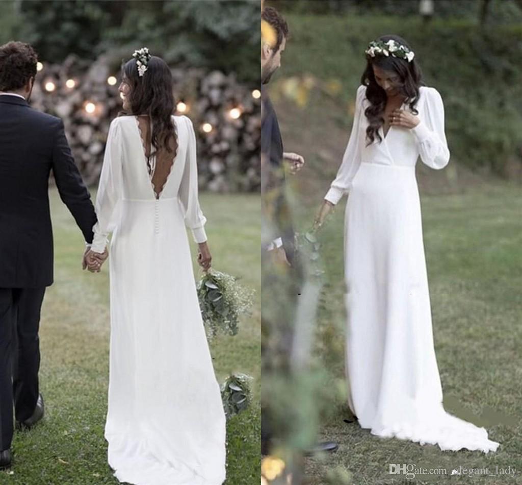 Simple 2019 Bohemian Country Wedding Dresses V-Neck Backless Long Sleeve Beach Plus Size Wedding Dress vestido de novia Cheap