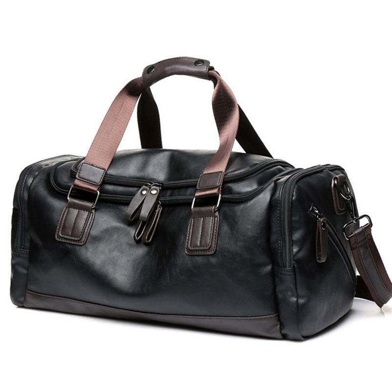 Высокое качество путешествия сумки Мужчины Vintage Кожа PU багажа Duffle Crossbody сумки большой емкости Ночевка плеча мешок S082