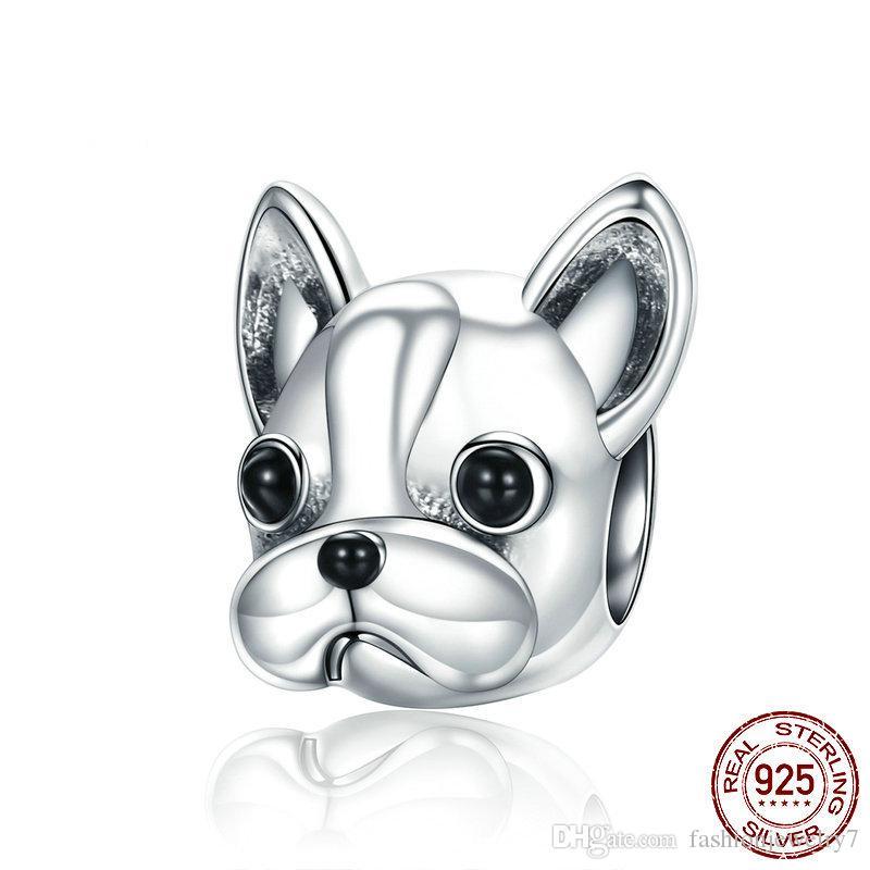 925 فضة لطيف تصميم جميل الكلب الصغير الفرنسية هزلي الخرز المرأة الجرو الحيوان سحر تناسب باندورا سوار الأزياء والمجوهرات