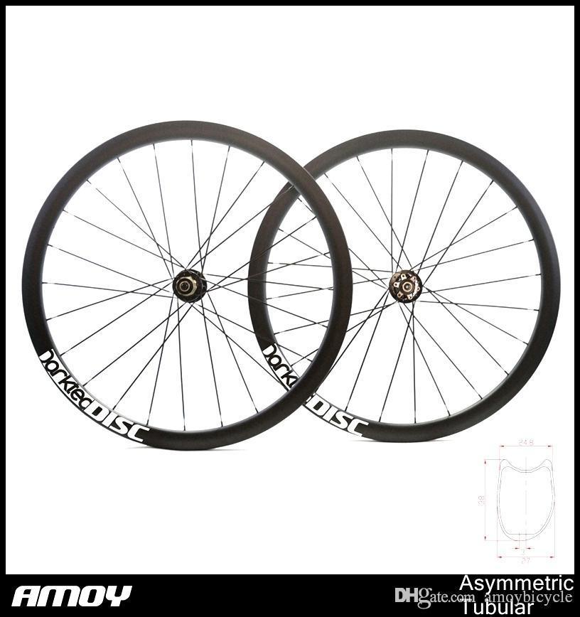 Asymmetric carbon Tubular offset road bike wheels, cyclocross disc wheels,