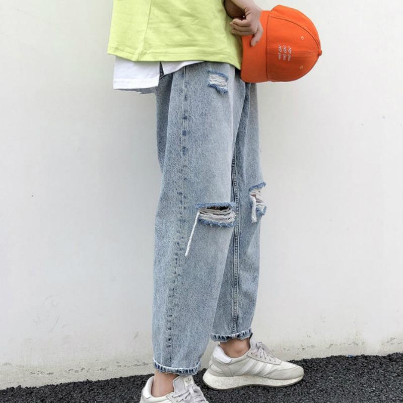 الرجال الجينز الرجال ثقوب الصلبة الكاحل طول كبير الحجم 3xl عارضة أزياء عالية الشارع كل مباراة أنيقة رجل مستقيم الدينيم السراويل المتناثرة 1