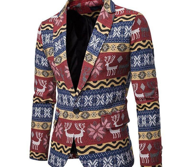 moda Homens Adultos Natal Costumes Suit Xmas engraçado do partido do terno Blazers impressão do Natal de Santa