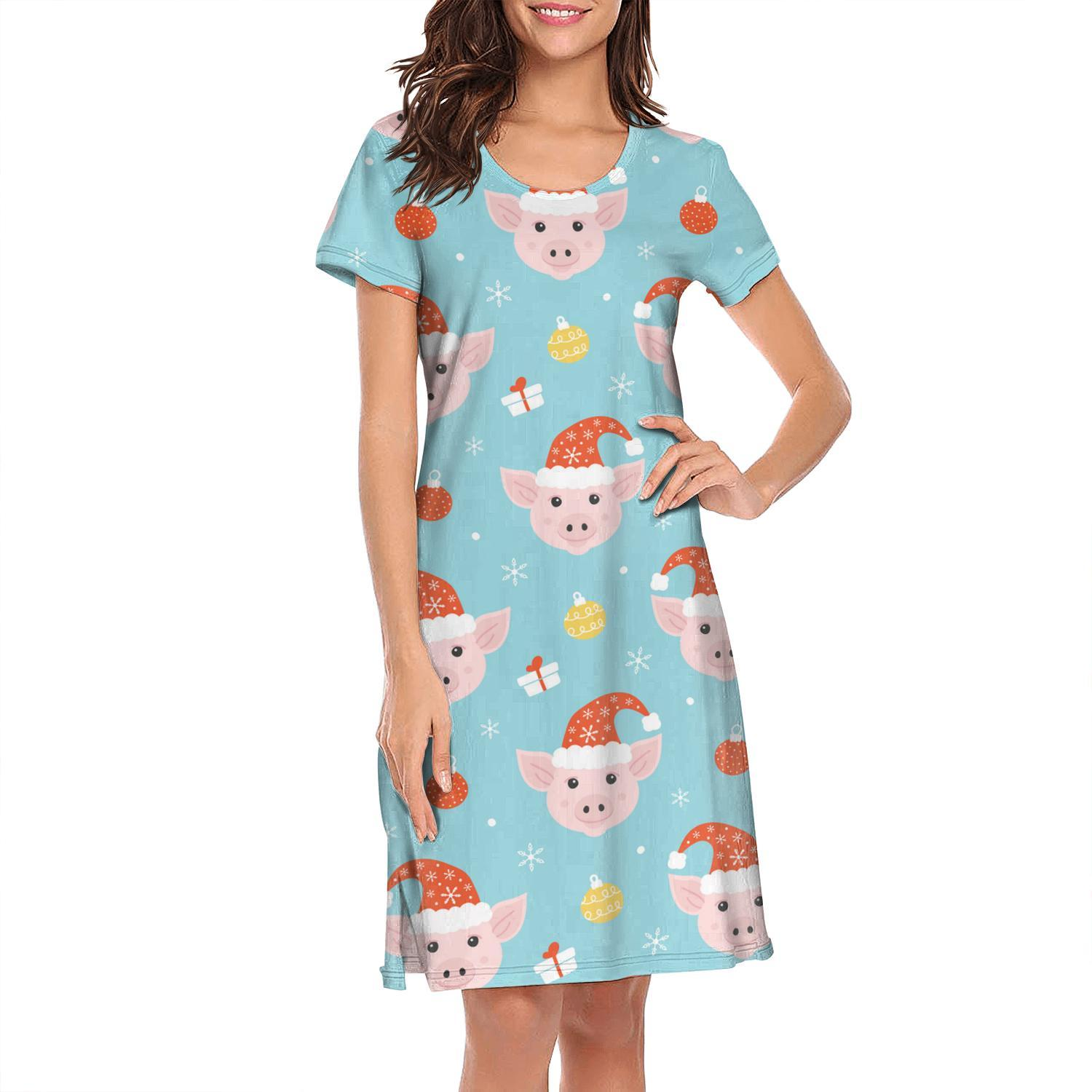 Nighties for women Cute Pink Pig Nose With Happy New Year design cool printing short sleeve nightdress Blue Christmas Pigs Head Presents