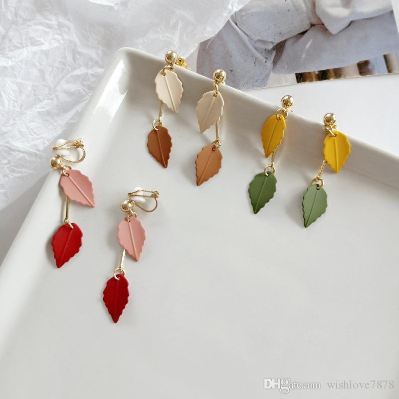 Clip colorido hojas divertido Pendientes Sin Agujero nuevo venir pendientes del encanto Mori niñas