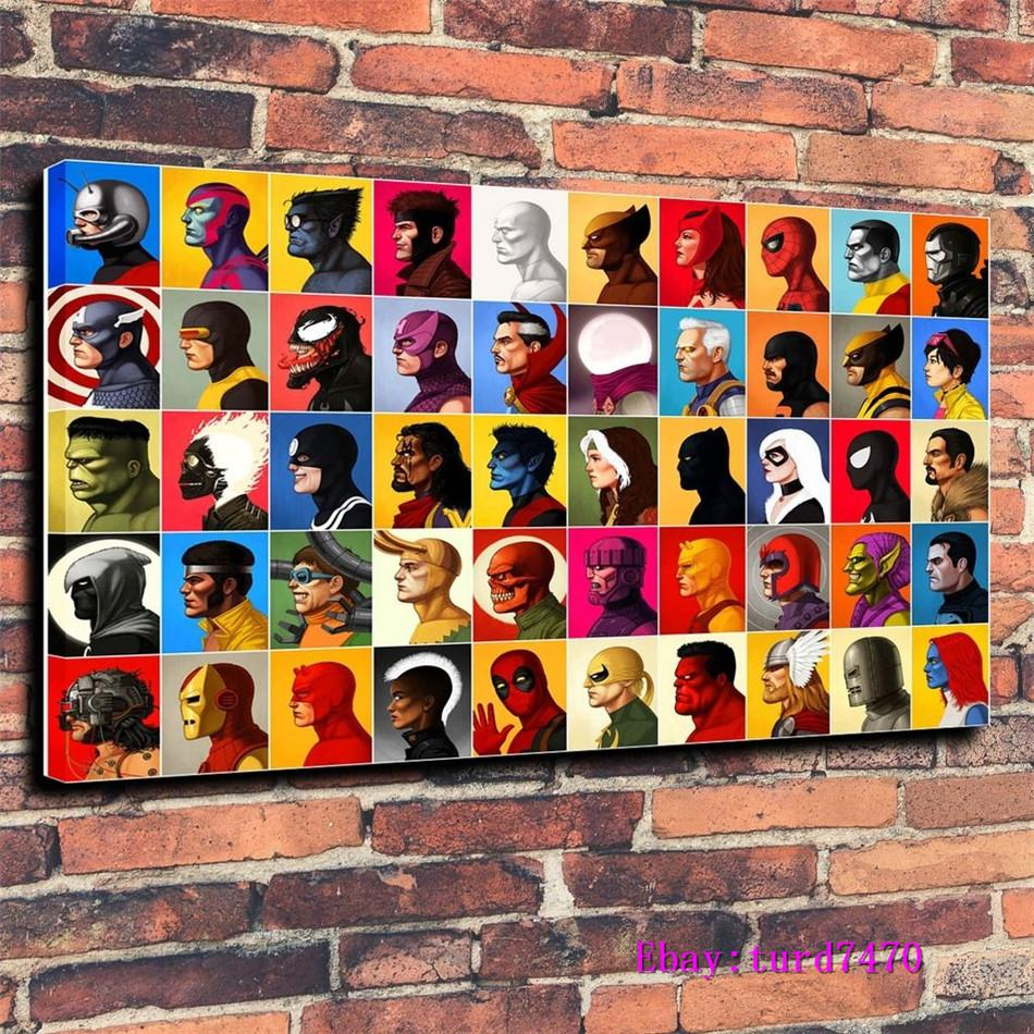 Marvel Characters, Super Heroes, Anime Portret,1 Pieces Canvas Prints Wall Art Oil Painting Home Decor (Unframed/Framed) 24x36.