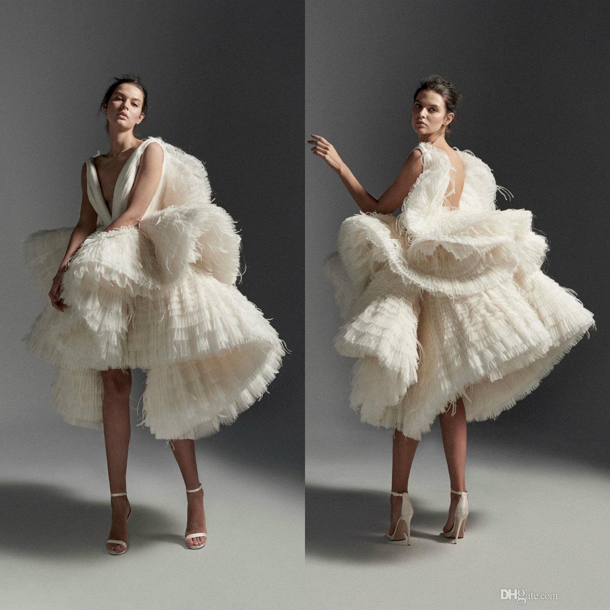 2020 Krikor Jabotian Wedding Dresses Short Deep V Neck Tulle Ruffles Tiered Skirts High Low Wedding Dress Custom Feather Abiti Da Sposa