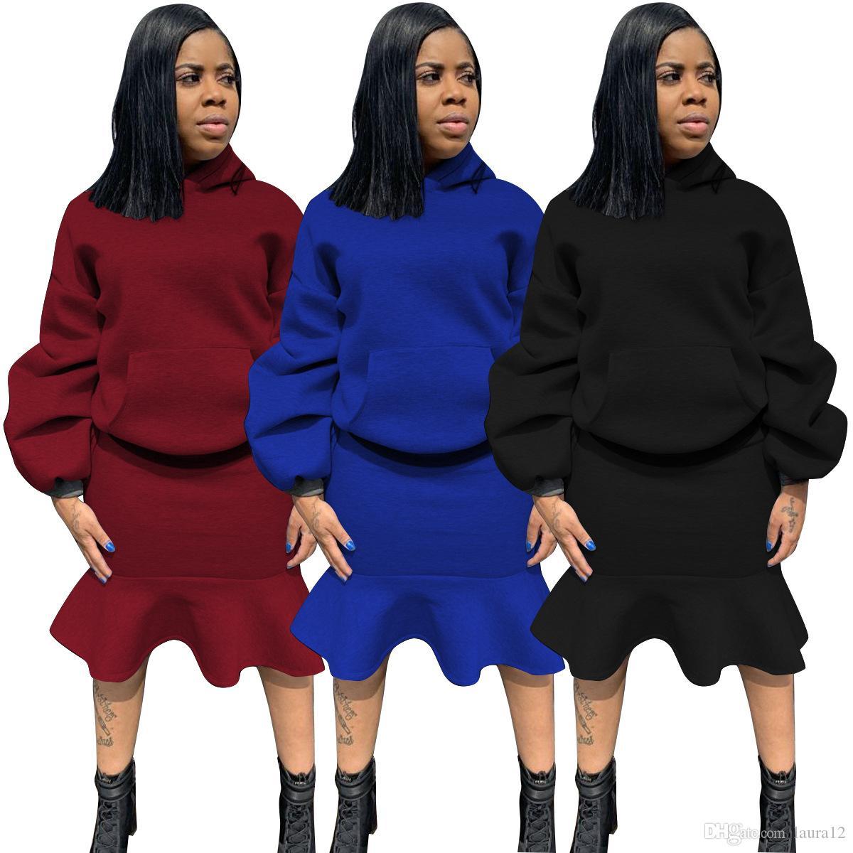 Las nuevas llegadas con capucha Cuatro nudos Trajes de manga larga de la camiseta de falda de volantes sirena longitud de la rodilla ocasionales de chicas Trajes de alta calidad