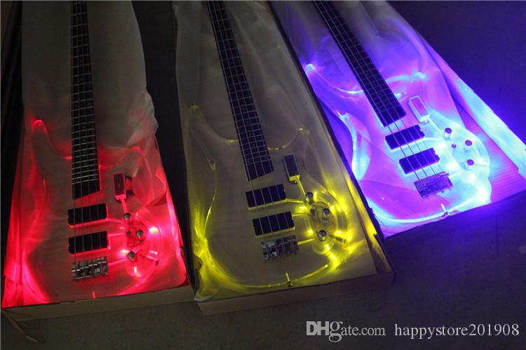 Fabbrica Nuovo 4 corde 4 corde Corpo in acrilico Per chitarra elettrica con luce a LED, hardware cromato, tastiera in palissandro, offerta Personalizza
