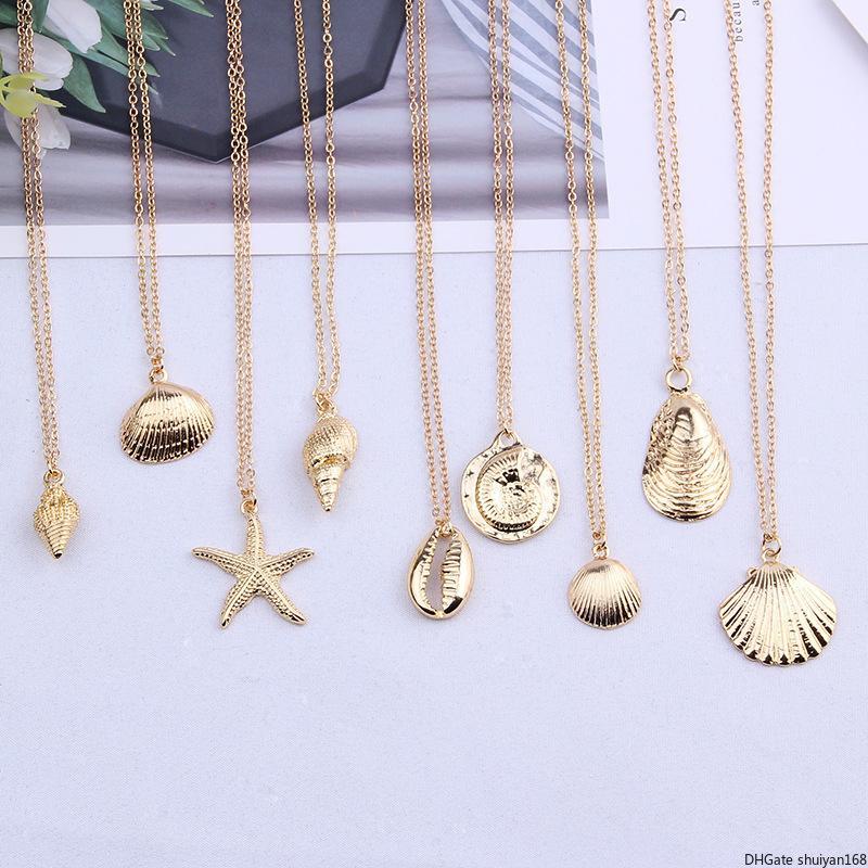 Морская звезда Shell Подвеска Ожерелье для женщин Раковины шарма Воротник ожерелье сплава цепи ожерелье Summer Beach Party Заявление ювелирные изделия оптом