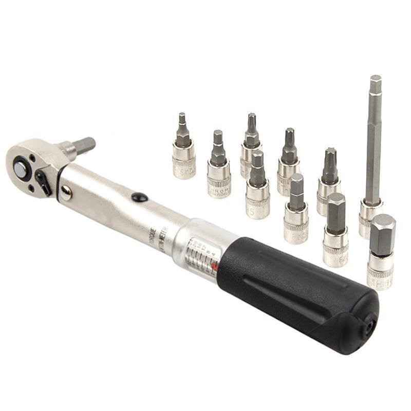 Bicicletta Torque Wrench 1/4 di pollice 2-24nm Viti Grip strumento per il riciclaggio di riparazione bici EDF88