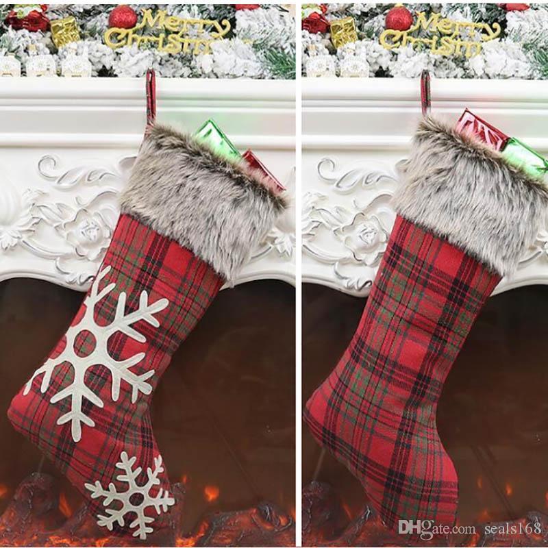 جوارب عيد الميلاد ديكور للنسيج مربع مخطط شجرة عيد الميلاد حزب حلية زينة ندفة الثلج كاندي الجوارب أكياس هدايا عيد الميلاد حقيبة HH9-2375