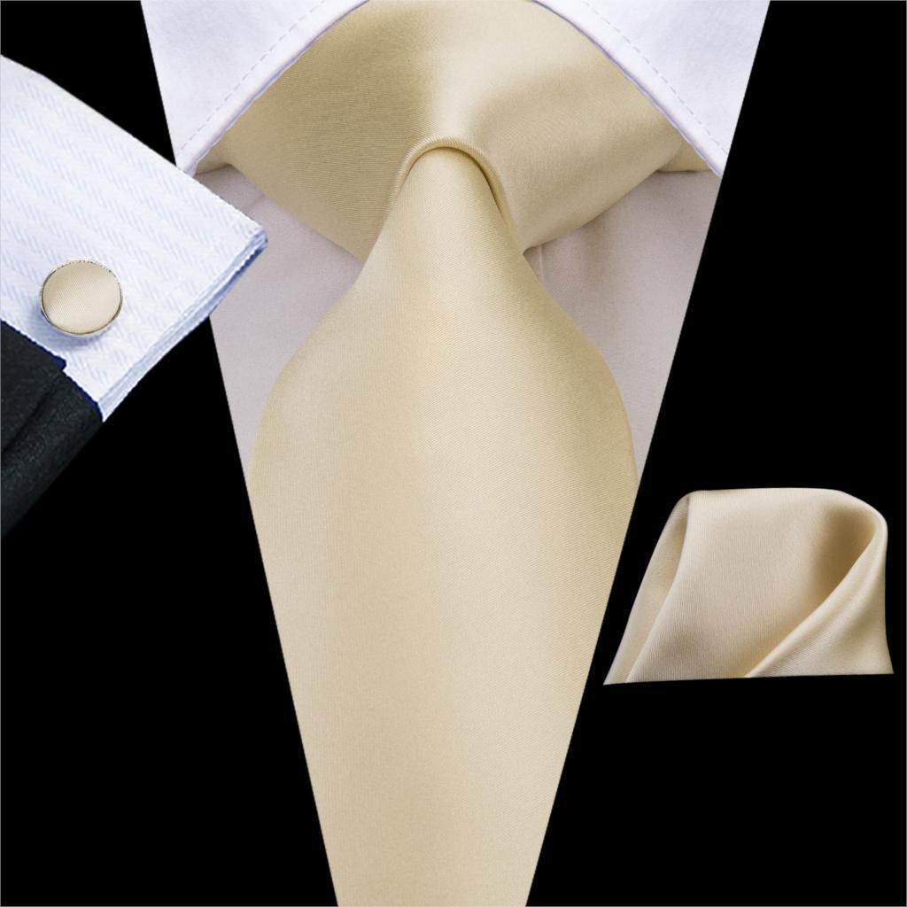 C-3266 High Quality 100% Silk Ties for Men Soft Silk Solid Ivory champagne NeckTie Hanky Cufflinks Set Classic Men's Ties