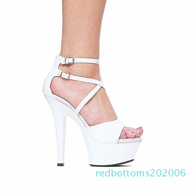 Crystal Ankle Strap 15CM Sexy Super High Heel Platforms Pole Dance / Performance / Star Model Shoes, Wedding Dance Shoes 6inch r06