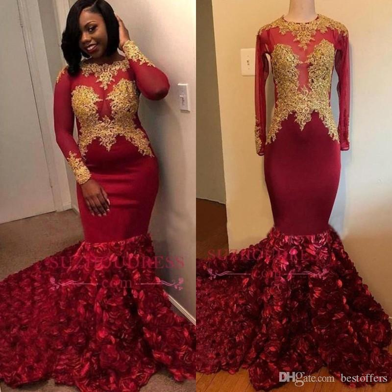 Black Girls Burgundy Prom Dresses 3D Rose Flowers Mermaid Long Sleeve With Gold Appliques Sweep Train Evening Gowns Formal BC1357