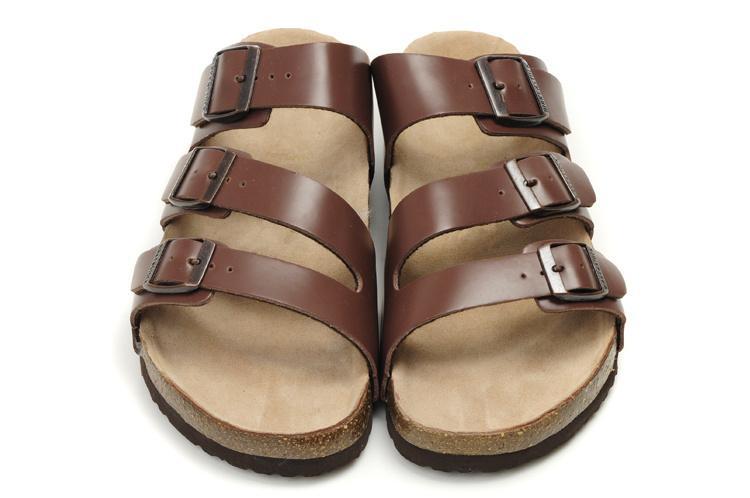 Zapatos ocasionales de las mujeres caliente famoso de la marca de Arizona sandalias planas de los hombres de la Mujer Tres hebilla verano deslizador de cuero auténtico zapatillas con la caja de Orignal