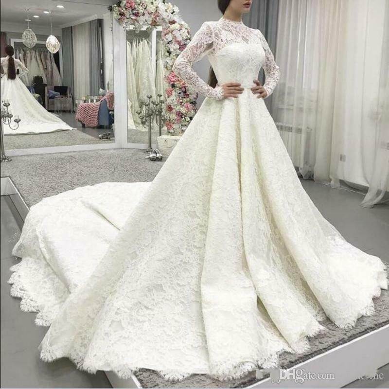 Discount Vintage Full Lace Wedding Dresses Long Train Jewel Neck Back Covered Buttons Long Sleeves Wedding Dress A Line Bridal Vestidos Plus Size Lace Wedding Gown Mermaid Wedding Gowns From Click Me 140 21