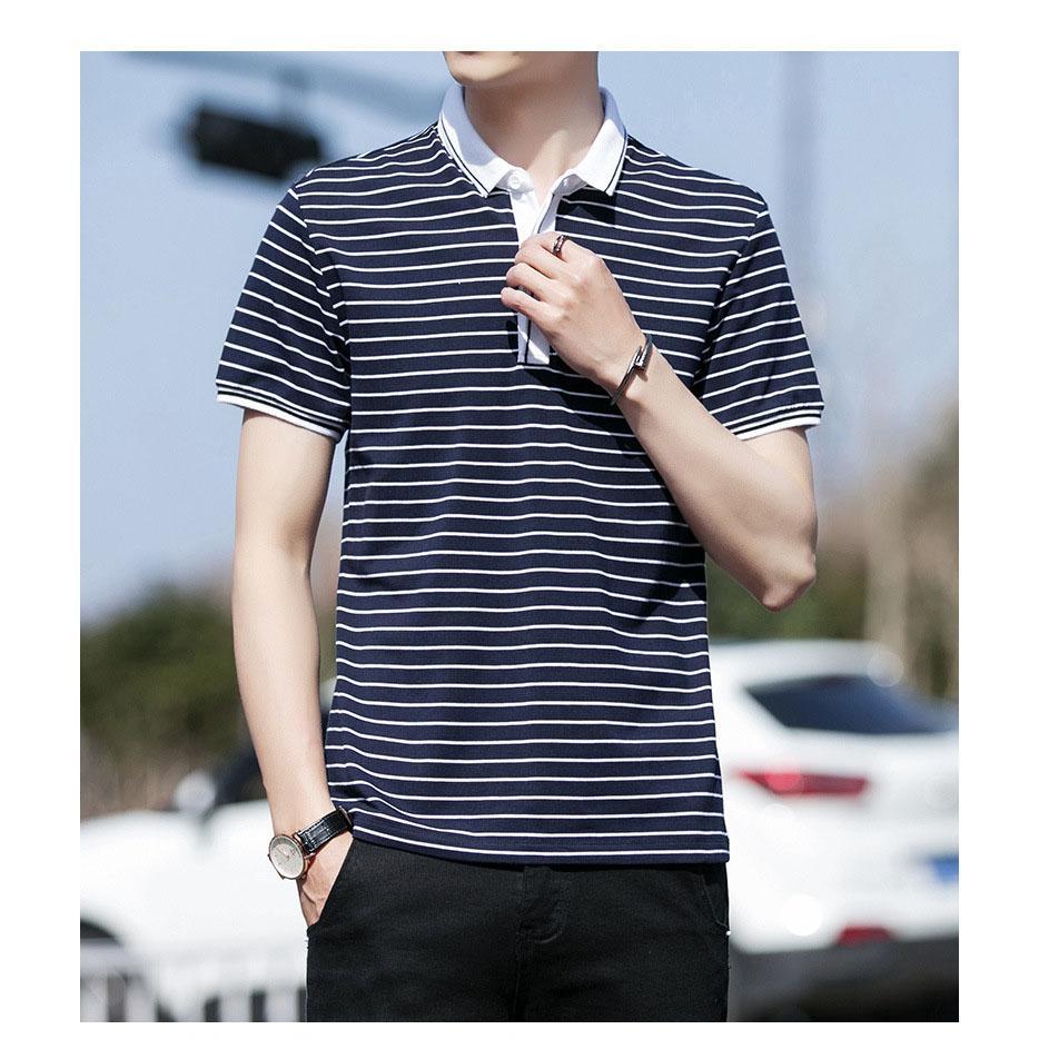 Moda Polos dos homens 2019 Verão New listrado Imprimir manga curta T-shirt dos homens Explosão Casual Polo camisa dos homens Marca roupa por atacado