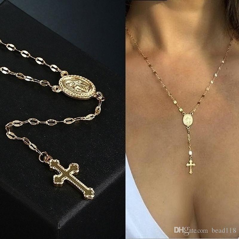 Colgante, collar de rosario 12pcs cruz de la vendimia de la cadena cruzada cristiana collar de Bohemia religiosa para los regalos de joyería encanto de las mujeres