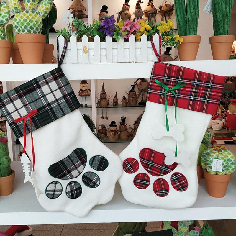 Promotion! Plaid Christmas Stockings New Year Gift Bag for Pets, Dogs, Dogs, Christmas Supplies, Hanging Christmas Tree Decorati