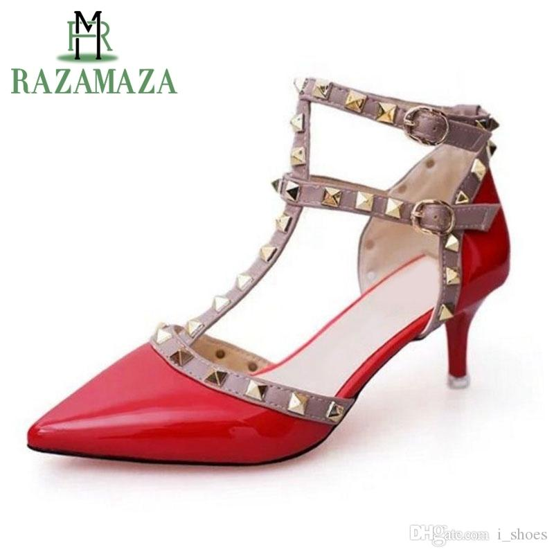 RAZAMAZA Women Fashion Slingback Ankle Strap Sandals Block Heel Shoes