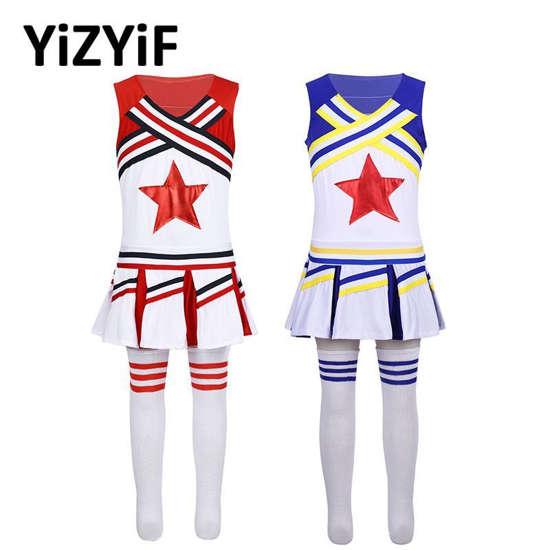 Болельщица костюм Дети девушки Хэллоуин Rave Outfit рукавов Красная звезда аппликация Топы Юбки Носки Балет Джаз танец костюм