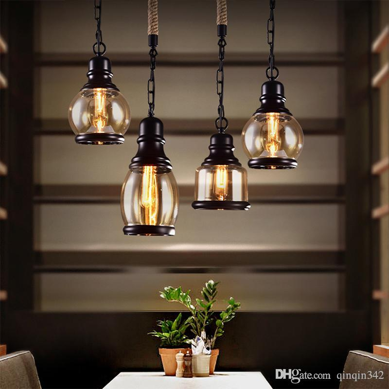 2019 Vintage Loft Pendant Light Industrial Style Amber Glass Lamp Bar/Restaurant Retro Room Bar Bed Room 3 Style Pendant Light