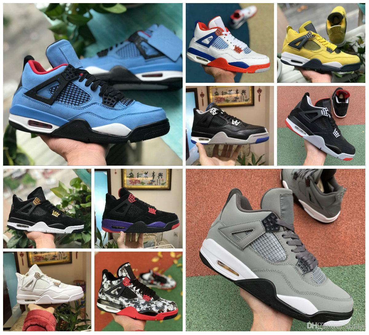 Al por mayor de 2020 4s pura dinero Motorsport Negro infrarrojos NRG Zapatos Raptors baloncesto blanco negro de cemento pintada para hombre Cactus 4 Bred las zapatillas de deporte