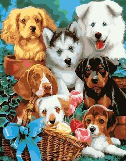Perros felices Basket - Pintura por Números Kits Para adultos de bricolaje kits de bellas artes de lona de la pared de DIY Animales Arte Arte imagen de alta calidad