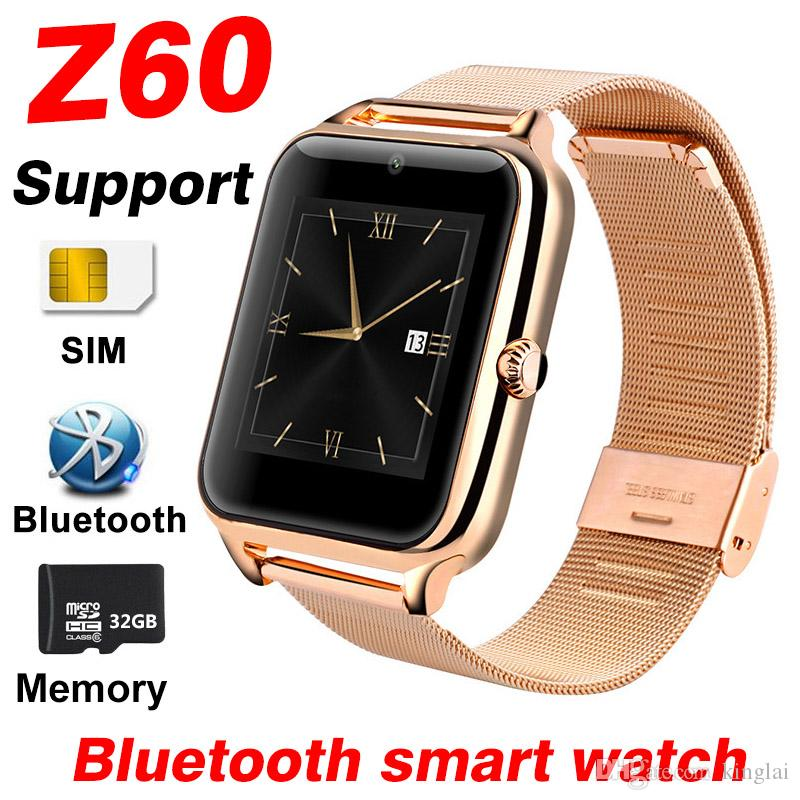 Z60 스마트 손목 시계 남성 여성 SIM 카드 지원 32기가바이트 TF 메모리 블루투스 시계 전화 시계 금속 피트니스 팔찌 A1 Y1 Smartwatch를 어린이 시계