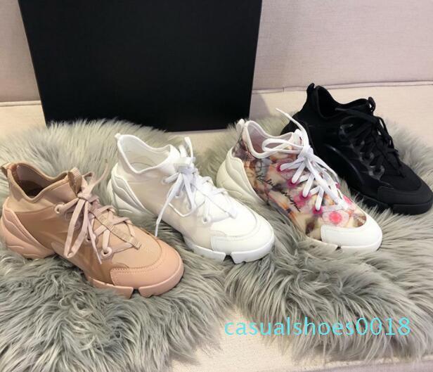 primavera estate casuale fiori moda scarpe sportive donna di stampa in esecuzione in pizzo di lusso del pattino inferiore spesso Bowling grandi dimensioni 42 C18