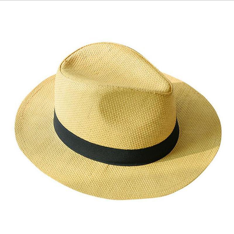 Novos Chapéus de Verão para as mulheres dos homens de palha Panamá Chapéus contínuo liso aba larga chapéus da praia com Banda Unisex Fedora Chapéu de Sol