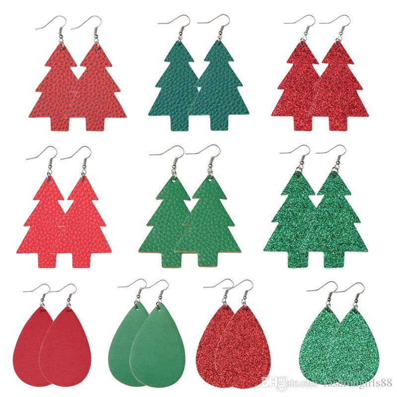 Atacado couro vermelho verde Two-Side PU Waterdrop Árvores de Natal pingente brincos Impresso Halloween Ear Hook presentes Eardrop Natal