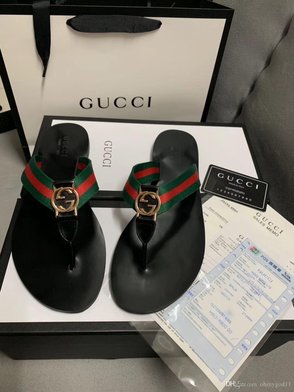 sandalias 2020 de las mujeres clásicas de la hebilla del diseñador de zapatos de lujo de los sandalias de las mujeres BLAC fondo plano de cuero hebilla de metal de Playa Mujeres