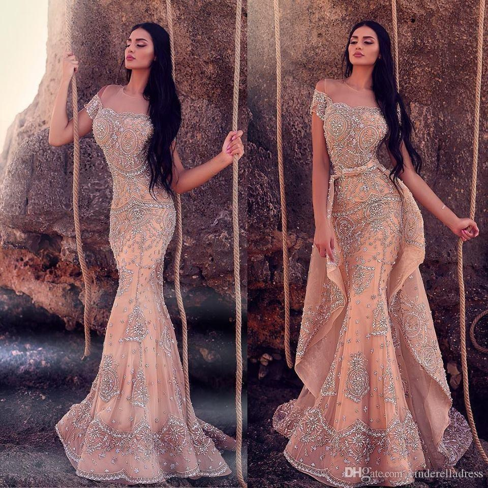 2019 Beach Arabic Evening Dresses With Detachable Skirt Sheer Jewel Neck Lace Appliqued Beads Mermaid Prom Dress Sweep Train Party Gowns