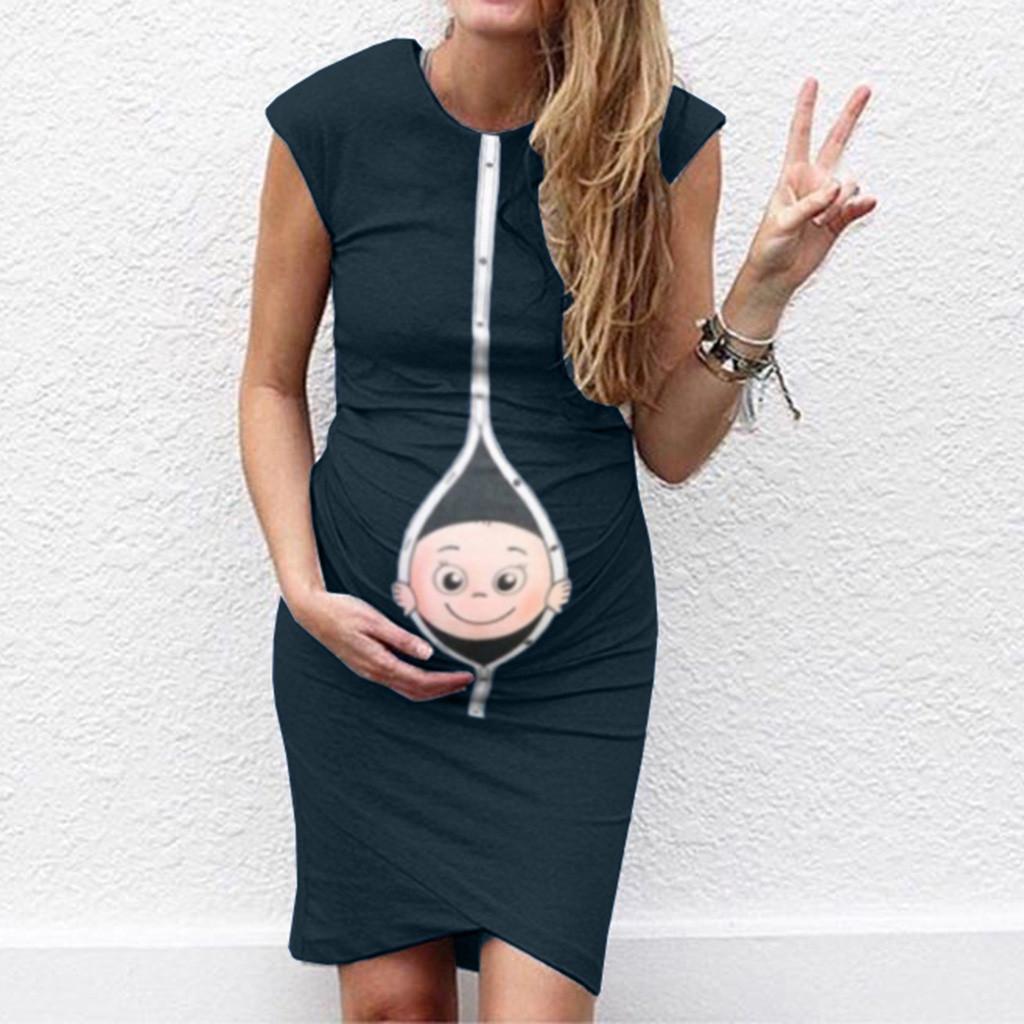 Women Maternity Dresses Summer Cartoon Baby Print Elegant Sleevelss Casual Nursing Dress Pregnant Clothes Vetement Femme 19may10