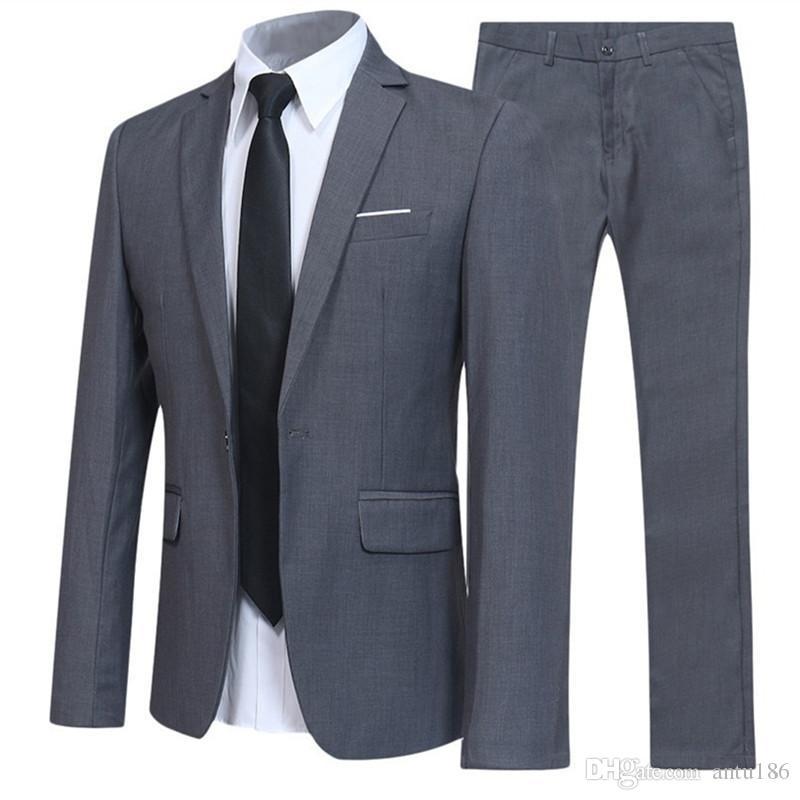 Erkekler İş İnce Casual Suit Erkek Gençlik Damat Düğün Suit özel yapılmış Düğün Smokin Yeni Erkek Takım Elbise İki parçalı (ceket + pantolon)