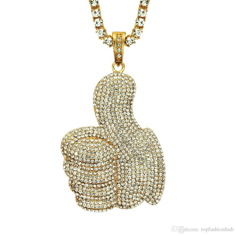 Hip-Hop-Legierung Halskette Daumen-Halskette einreihig Diamant-Halskette 18K Gold überzogen und versilberte Anhänger