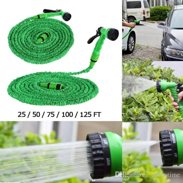 Echootime 25FT-100FT High Quality Expandable Flexible Garden Magic Water Hose With Spray Nozzle Head Blue Green with retail box
