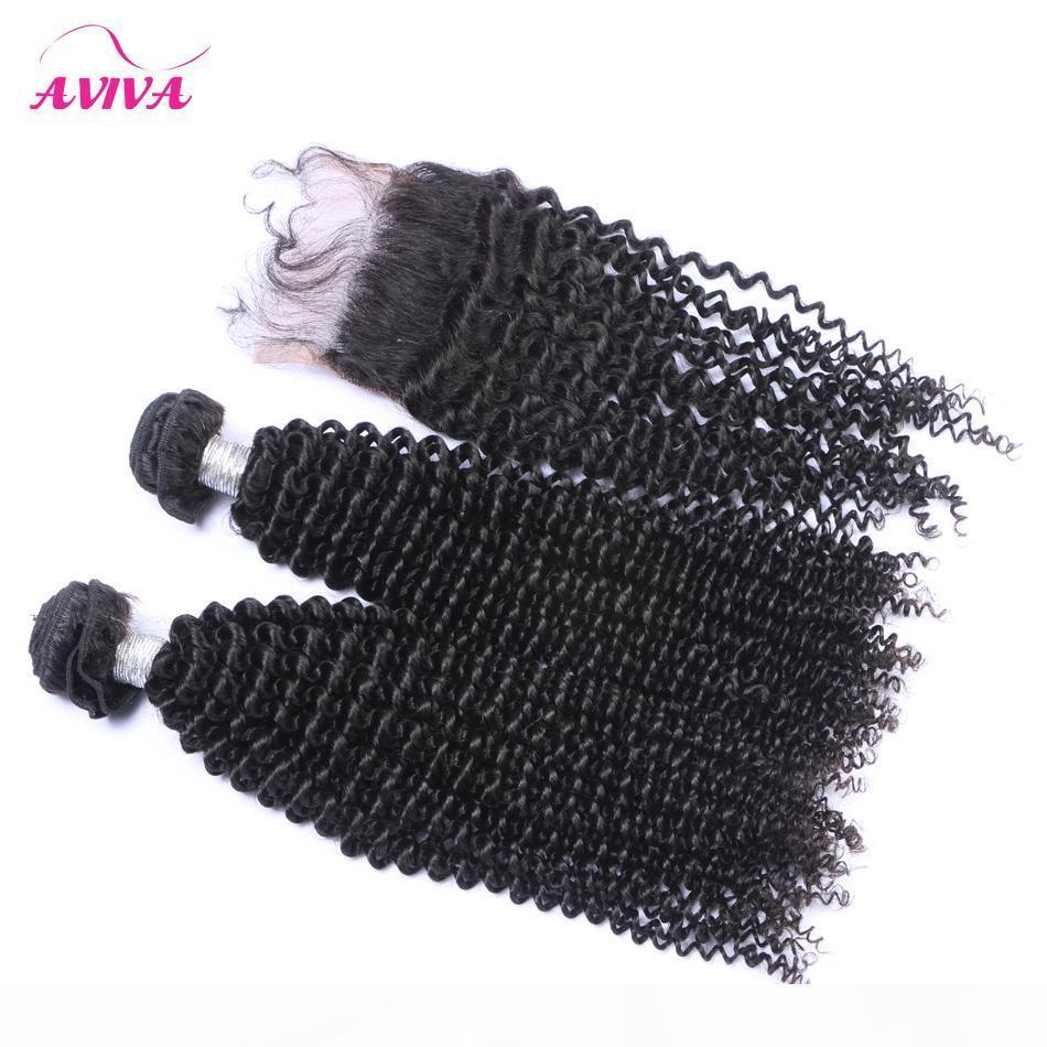 5pcs muito brasileiros Kinky Curly virgem tecem cabelo com Kinky cabelo encaracolado Pacotes Cabelo Humano Encerramento brasileiro Lace Encerramento Com Brasileira