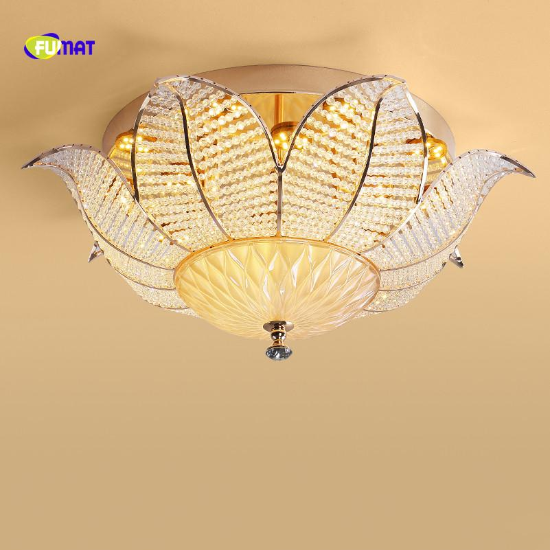 FUMAT Nordic Style Round Sun Flower Shape Crystal K9 Stainess Steel LED Ceiling Lamp Luxury For Dining Room Foyer Kitchen Villa