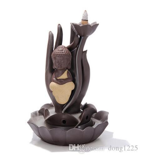 Venta caliente Quemador de aceite de cerámica reflujo incienso quemador creativa decoración el pequeño monje Buda incensario Aroma quemador