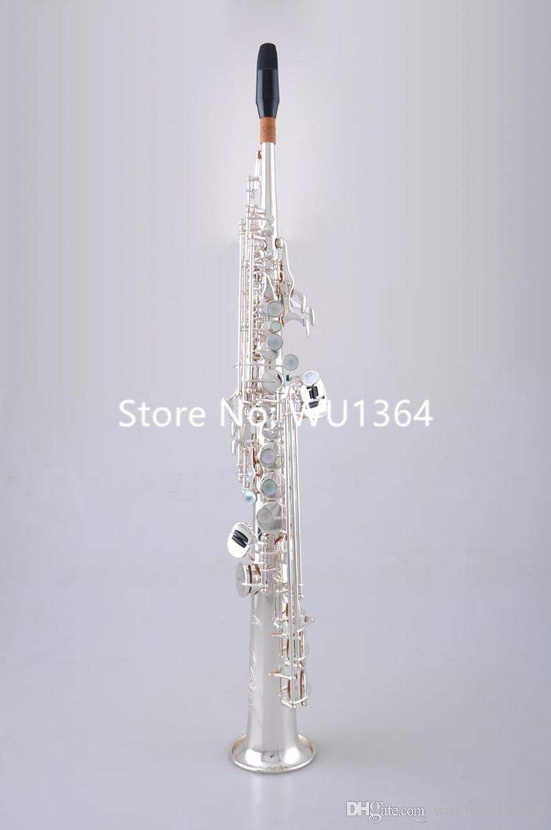 Sıcak Satış MARGEWATE Düz Soprano S-902 B Düz Saksafon Pirinç Gümüş Kaplama Aletleri Müzik ile Ağızlık Kılıf
