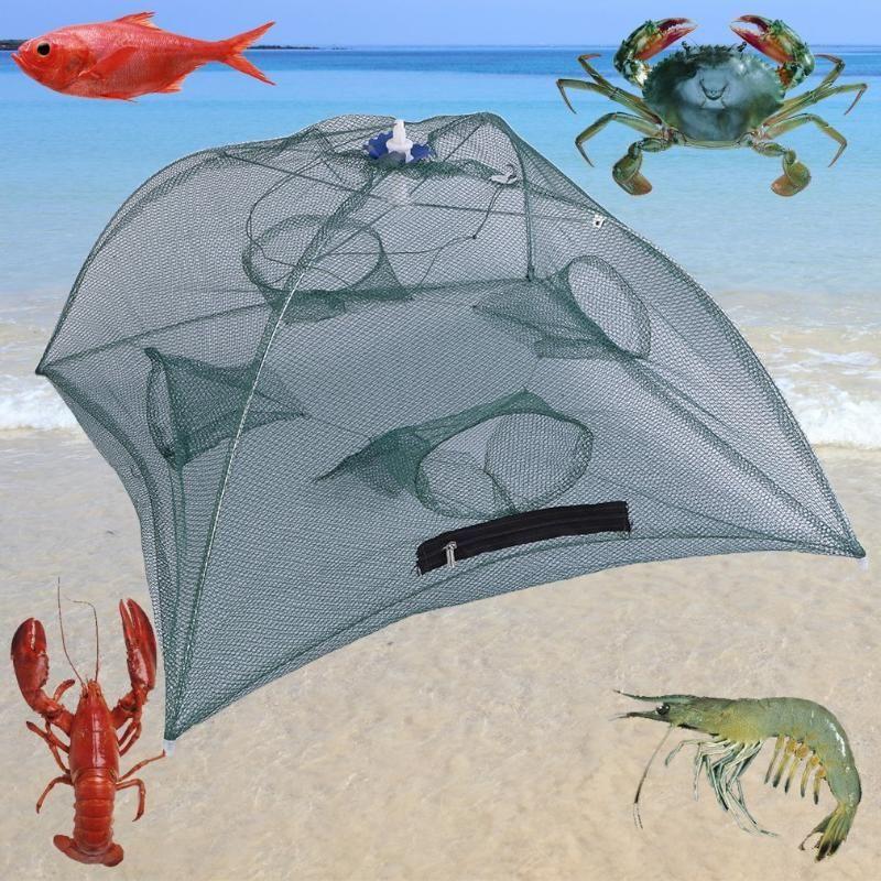 Foldable Fishing Bait Net Trap Cast Dip Cage Crab Fish Minnow Crawdad Shrimp Zipper Design Convenient to Carry Sinking Net