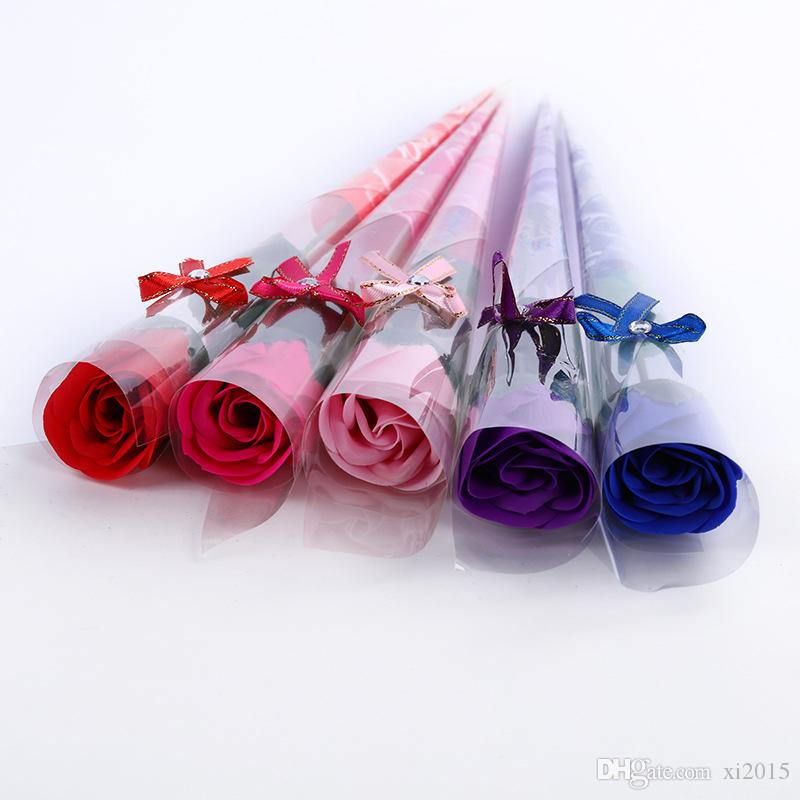 Red Pink Rose Red Blue Purple Single Soap Rose Flower Bouquet Romantic Wedding Decoration Gifts WB102