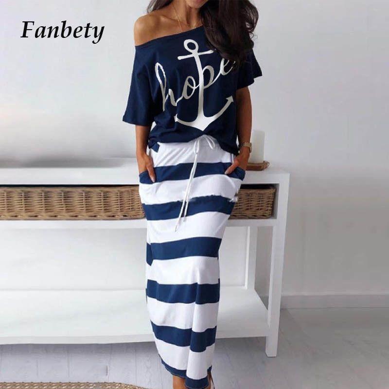 Fanbety женщин сексуальный с плеча двух частей устанавливает платье лодка якорь печать рубашки в полоску Платье устанавливает Леди свободного покроя до щиколотки-длина платье