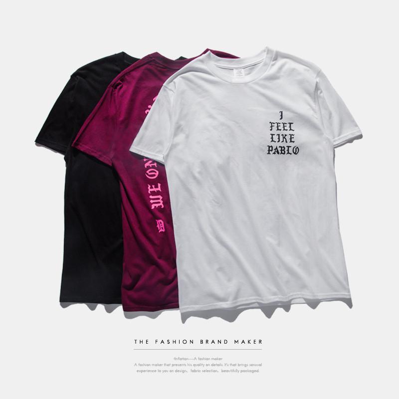 Camiseta para hombre ESTACIÓN 3 me siento como Pablo Tee manga corta del O-cuello de la camiseta Kanye West impresión de la letra de Sportwear
