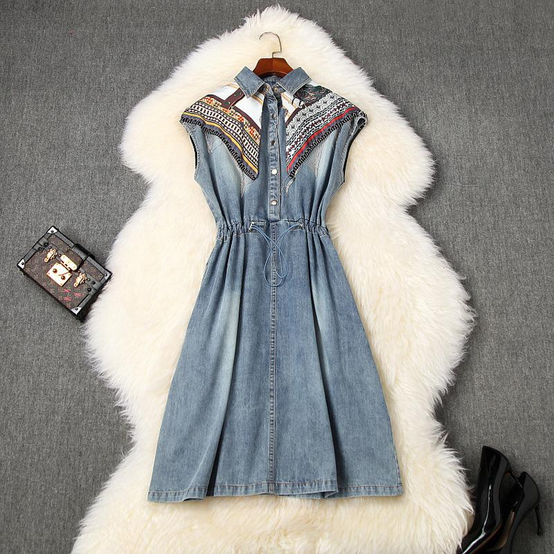 2020 İlkbahar Yaz Kolsuz Yaka Boyun Mavi Paisley Denim Kasetli Püskül Diz Boyu Elbise Şık Günlük Elbiseler LM2610855 yazdır