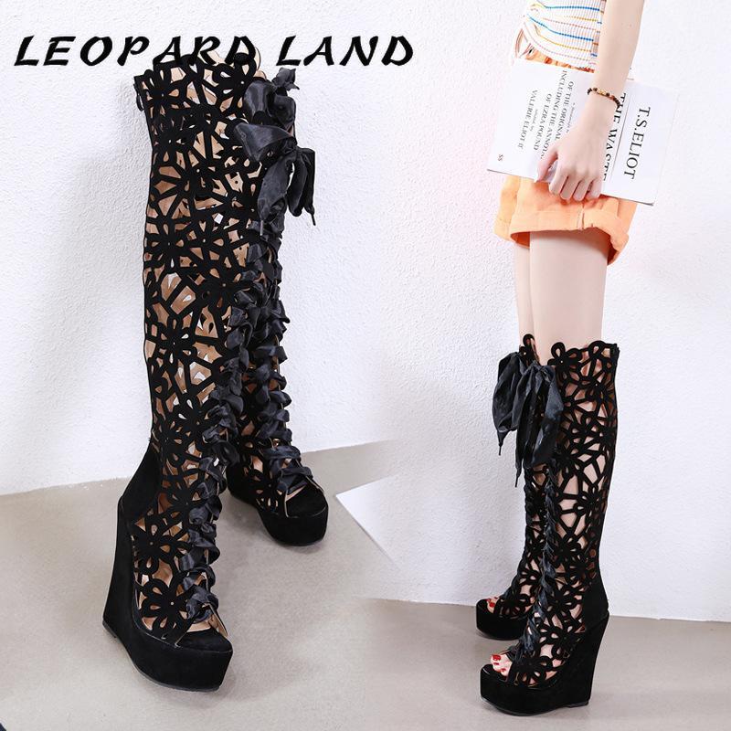 LEOPARD TERRESTRES 2020 Chaussures Wedge talon haut coupe-circuit à lacets poisson-bouche cool Bottes poisson Toe Chaussures Noir Femmes Poisson Toe Boot FCF